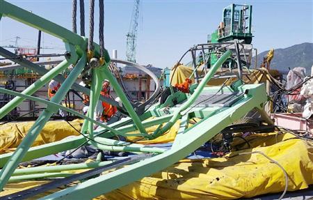 サムスン重工業の造船所でクレーン倒壊 6人死亡、20人が重軽傷