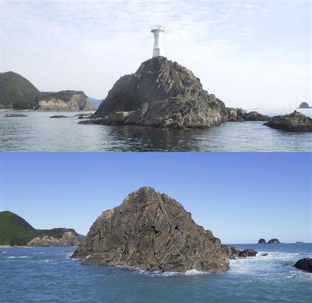 台風19号で長島港大石灯台ポキリ…根元から折れて流失