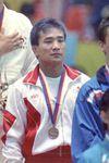 ソウル五輪柔道男子65kg級表彰式、銅メダルの山本洋祐=1988年9月26日