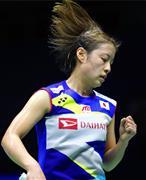 準々決勝、マレーシア戦でポイントを奪い、ガッツポーズする女子シングルスの奥原希望=南寧(共同)